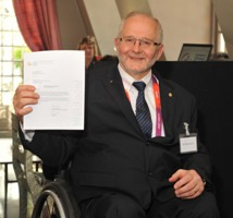 Sir Philip Craven uses the gift of $100,000 for the AGITOS Foundation