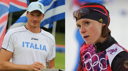 William Frullani of Italy (left) and Evi Sachenbacher-Stehle of Germany(right)
