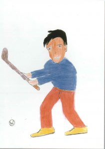 A drawing submitted to our CESEP book by a young field hockey player in Kitwe, Zambia
