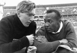 "Jesse Owens and Luz Long Talking at the 1936 Berlin Olympics, the ""Nazi Olympics"""