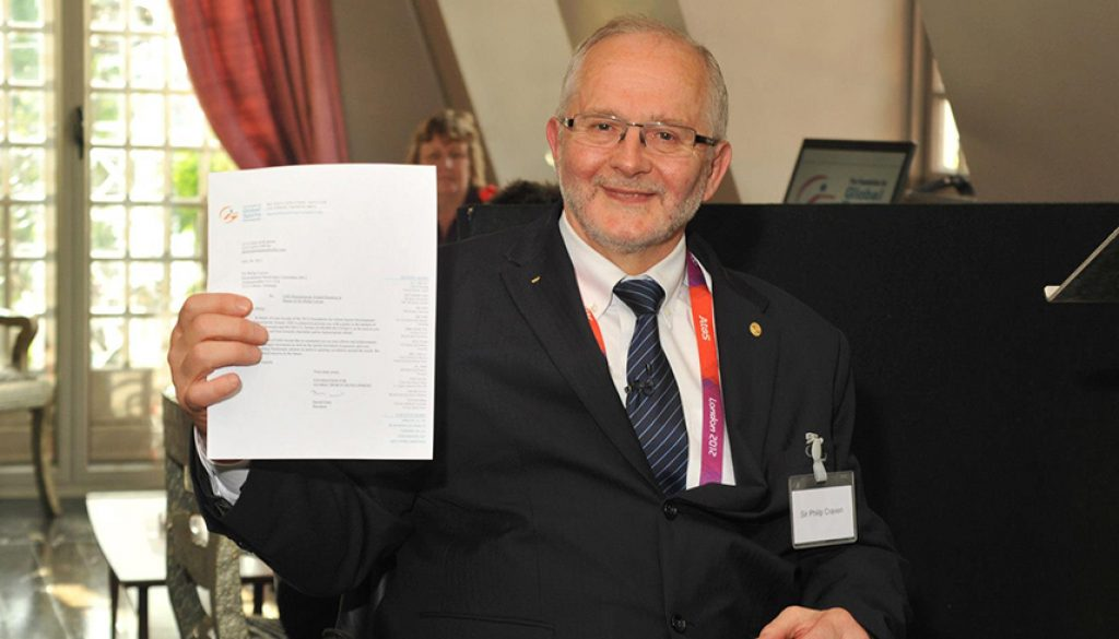Sir Philip Craven was the recipient of Global Sports Development's 2012 Humanitarian Award Ceremony