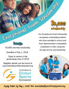 Flyer for the 2018 Exceptional Youth Scholarship