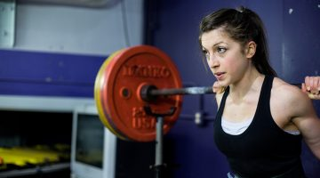 Woman powerlifting