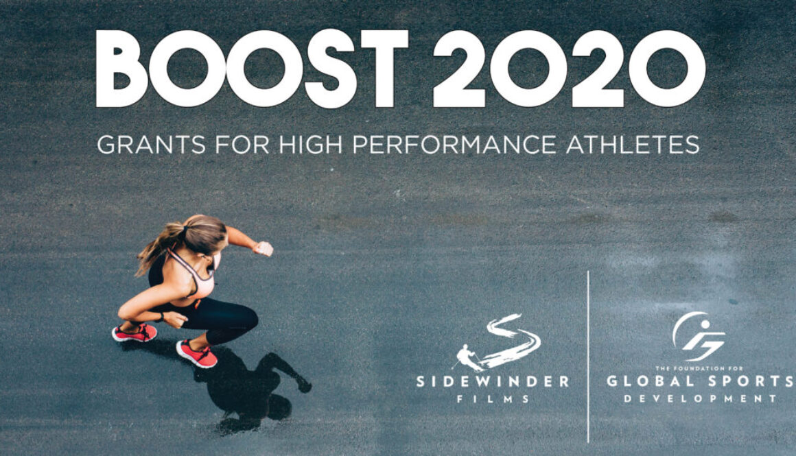 BOOST2020 text above aerial view of female runner
