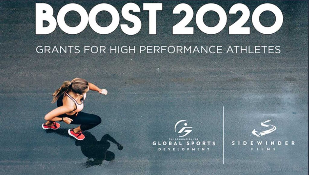 BOOST2020 text over aerial image of woman running