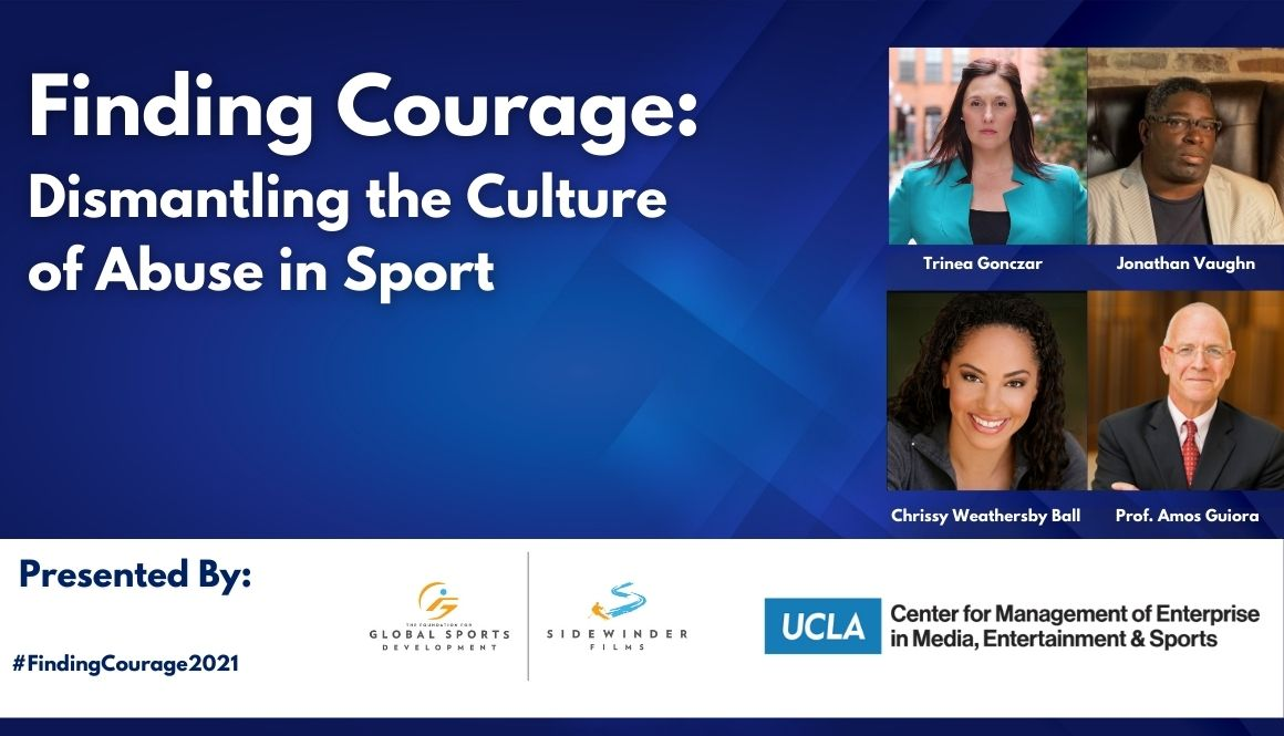 Finding Courage: Dismantling the Culture of Abuse in Sport image with headshots of 4 guest speakers
