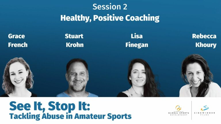 Headshots of the speakers for the Healthy, Positive Coaching session.